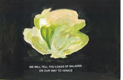 "Laure Prouvost's film extract: ""We will tell you loads of salads on our way to Venice""."